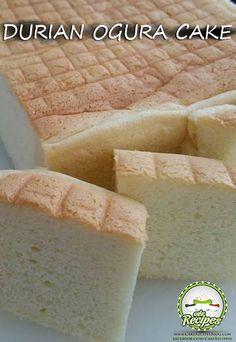 Durian Ogura Cake Ogura Cake, Durian Cake, Pastry Cake, Cake Flour, Vanilla Cake, Cake Recipes, Sweet Treats, Sweets, Baking