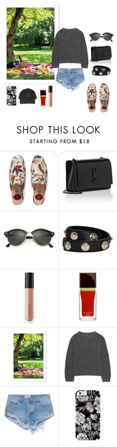 """prk"" by natalieordnz on Polyvore featuring Gucci, Yves Saint Laurent, Ray-Ban, Versace, Bare Escentuals, Uniqlo, One Teaspoon and Topshop"