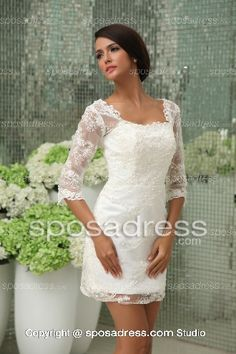 high quality Exquisite Short White Lace Tea Length Wedding Dress With Sleeves at cheap prices