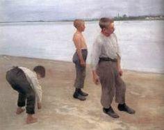 "Károly Ferenczy: ""Boys Throwing Stones"", 1890,  Oil on canvas, 120 x 149 cm,  Magyar Nemzeti Galéria, Budapest."