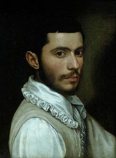This is a self portrait of Scipione Pulzone (c. 1542 or 1543 – 1598) a painter notable for his Renaissance/Mannerist style and his influence on the religious world. He painted the portraits of numerous popes and cardinals, and inspired the Catholic devotion to Our Lady of Providence.