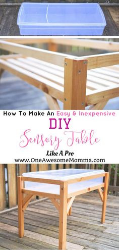 Your toddlers will surely love this DIY sensory table which looks professionally-made Toddler Education Fun Activities For Toddlers, Educational Activities For Kids, Teaching Activities, Toddler Activity Table, Diy Toys For Toddlers, Outdoor Toddler Activities, Toddler Play Table, Activity Tables, Table Games