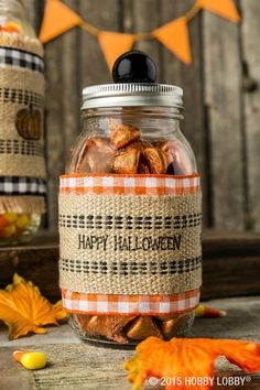 Create a treat jar that's full of personality by simply embellishing a generic mason jar in fabric ribbon and jute!