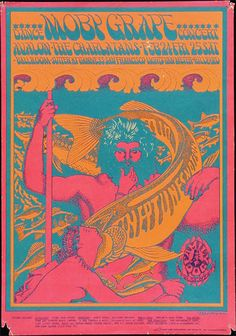 """PERFORMERS: Moby Grape The Charlatans Ben Van Meter Roger Hillyard ARTIST: Victor Moscoso DATE:Feb 24, 1967 - Mar 25, 1967 VENUE:Avalon Ballroom (San Francisco, CA) SIZE:14 3/8"""" x 20 1/16"""""""