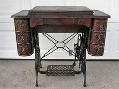 Antique  Sewing Machine 7 Drawer Quarter Sawn Oak Wood Treadle Cabinet