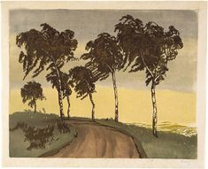 Hugo Noske (1886-1960): Wind Blown Trees, woodblock print, ca. 1925.