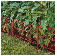 Add the finishing touch to your garden and protect your plants with our Scroll Garden Edging. This weather-defying edging is made from sturdy steel, and covered in a bright red, powdercoated finish. Front Flower Beds, Garden, Garden Gates, Railings Outdoor, Deck Garden, Outdoor Gardens, Landscaping With Rocks, Garden Edging, Fence Paint