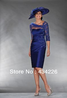 2014 new fashion half sleeve mother of the bride dresses knee length