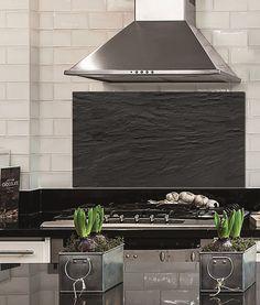 Küchenrückwand Sicherheitsglas Fliesenspiegel Spritzschutz BlackSlate Dekoration…