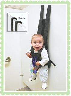 Baby-products-nobody-needs. These over the door hooks are actually meant to hang your baby on!  The baby looks happy but this is creepy.