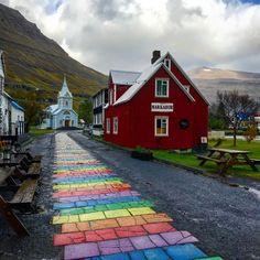 "29 Likes, 1 Comments - Ómar Bogason (@obogason) on Instagram: ""Rigningardagur á Seyðisfirði, 24. september 2017. ""rainy day at rainbowstreet"" #rainbowstreet…"""