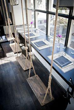 Cafe Interior Design, Interior Garden, Cafe Design, Swing Design, Küchen Design, House Design, Urban Rooms, Cafe Concept, Cool Office Space