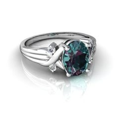Amazon.com: 14K White Gold Oval Created Alexandrite Ring: Jewelry