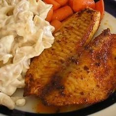 Blackened Tilapia with Secret Hobo Spices Allrecipes.com (Of course without the white bread for diabetic recipe)