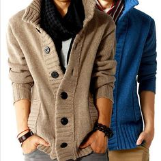 Pure Handmade Hot fashion big lapel single-breasted men's sweater real wool cotton men's sweater men's coat wool coat cardigan man on Etsy, $58.00