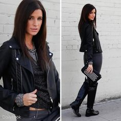 This Montage has attitude, style, and major rock chic. The rock chick look has been a staple trend since the days of the Rolling Stones, coming and going through fashion fazes. Buy this fashion look at: http://www.dailylook.com/c/12-2011-3-Black-Glitter-Rider-Rock-Chic/1/220.html