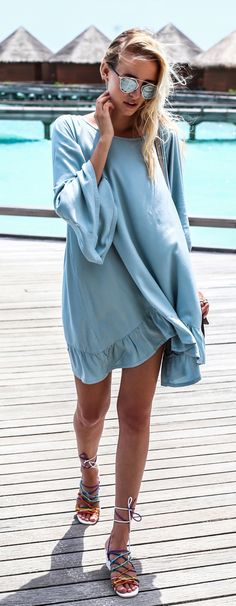 ohhcouture fashion blog | summer street style blue dress