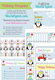 FREE Printable Holiday Labels, Stickers, Gift Tags, and Gift Planner from HelloCuteness.com...