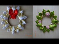 Рождественский Венок Канзаши/Christmas Wreath kanzashi - YouTube