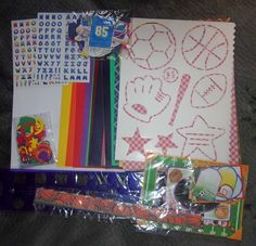 SPORTS SCRAPBOOK KIT, PAPER STENCILS, STICKERS & MORE #Unbranded