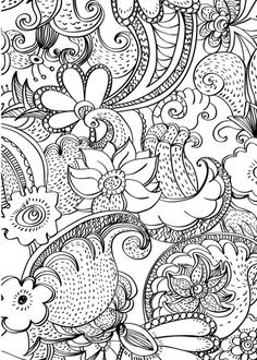 Adult coloring page abstract flowers #Coloringpages