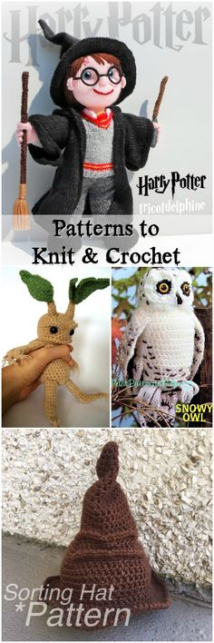 Four adorable knit and crochet patterns inspired by Harry Potter! I love the Mandrake - Amigurumi Tricot Harry Potter, Harry Potter Free, Harry Potter Crochet, Harry Potter Dolls, Crochet Baby Toys, Crochet Amigurumi, Crochet Dolls, Crochet Hats, Blanket Crochet