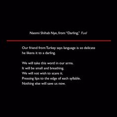 Naomi Shihab Nye from Darling Fuel #quote #poetry #lit #NaomiShihabNye #Fuel