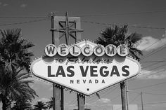 The famous Las Vegas welcome sign on the Strip. Black and White takes us back to Sin City's 1950's era.