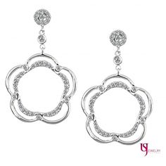 Feminine Floral Design Dangle 0.62 Ct Round Cut Diamond Earrings 14k White Gold