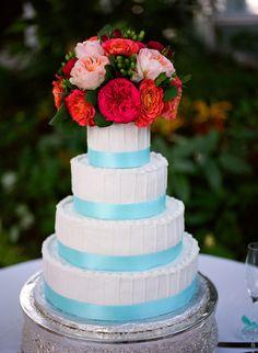 Wedding Cake with flower  topper of garden roses at the State of GA Botanical Garden . Atlanta Wedding Flowers.  Atlanta Florist