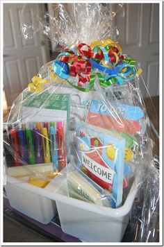 Teacher gift basket idea - although the link does not take you to a gift basket, you can get ideas to put one together.  Any teacher would appreciate one of these especially the first day of school!