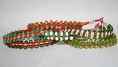 Six Christmas Beaded Macrame Bracelets  Lot  by LOVEwhatIdoDesigns