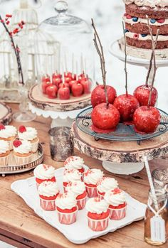 Love this red + white dessert display.