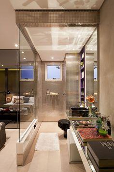 Banheiro aberto para o quarto - Efeito Loft