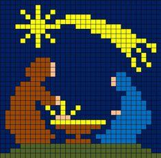Coding Unplugged e Pixel Art: la scheda della Natività - Maestro Alberto Cross Stitching, Cross Stitch Embroidery, Cross Stitch Patterns, Cross Stitch Christmas Ornaments, Christmas Art, Pixel Pattern, Pattern Art, Pixel Art Noel, Pixel Crochet
