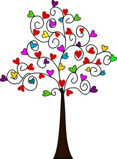 heart tree digital stamps in different colors. so cute