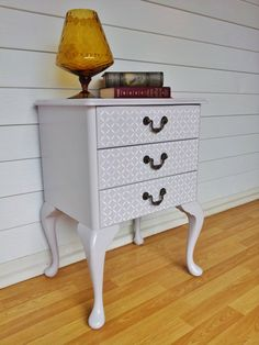 French Provincial Queen Anne Stenciled Grey and White Bedside Drawers. Furniture redo, DIY, upcycled
