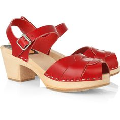 Swedish Hasbeens High leather clog sandals found on Polyvore featuring polyvore, women's fashion, shoes, clogs, women, red platform shoes, red leather shoes, rubber sole shoes, platform shoes and leather platform shoes