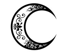 Tribal Crescent Moon Floral Tattoo
