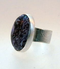 Charoite Ring in Sterling Silver Wide Band by SilverSpiral1, $54.00