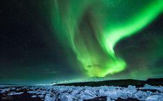 Aurora Borealis Northern Lights Night Green Stars Ice