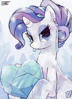 Rarity and her gems. <3