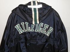 Vintage Tommy Hilfiger Hooded Blue Jacket Men's Size XL Athletic Windbreaker  #TommyHilfiger #BasicJacket