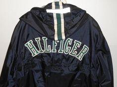 Vintage Tommy Hilfiger Hooded Blue Jacket Men's Size XL Athletic Windbreaker  #TommyHilfiger #BasicJacket
