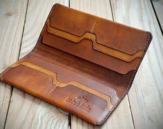 PERSONALISIERTE Hand genäht Geschenkidee lange Leder Brieftasche. Leder Brieftasche. Pflanzlichem gegerbtem Leder. Leather Tooling Patterns, Leather Wallet Pattern, Handmade Leather Wallet, Leather Gifts, Leather Craft, Leather Projects, Vegetable Tanned Leather, Long Wallet, Leather Working