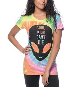"""Never say die in the Cool Kids tee by A-Lab that features a black screen printed chest graphic of an alien head with the text """"Cool Kids Can't Die"""" on a multi color tie dye colorway. The cotton construction allows for comfort and ease of mobility while yo"""