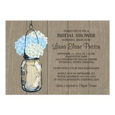 How to Bridal Shower Barn Wood Mason Jar Hydrangeas 5x7 Paper Invitation Card This site is will advise you where to buy