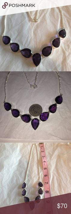 % 925 Sterling silver Amethyst gemstone necklace Gorgeous % Amethyst tear drop shaped gemstones in an % 925 Sterling silver setting w/S style clasp stamped 925, to make this beautiful chain link, 20 inch necklace. ☂ handmade/crafted beauty NWOT  Handmade/crafted Jewelry Necklaces