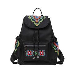 KASHIDINUO Brand National Women's Nylon Backpacks Vintage School Students Bags waterproof Girls Female Embroidered Bags Mochila