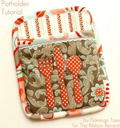 Potholder Tutorial..  i want these if someone is willing to make them!  preferably in teals and browns...  :D  i really need to learn to sew!